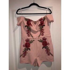 Pink rose embroidered romper
